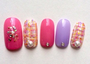 Japanese Gel Nail design : Tweed