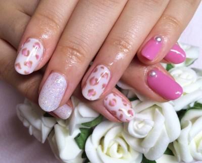 Japanese Gel Nail design : PINK Leopard