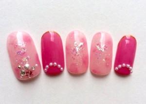 Japanese Gel Nail Design Pink
