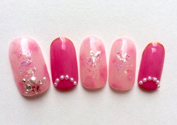 Japanese Gel Nail Design Pink