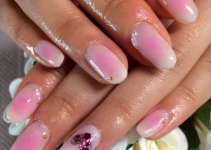 Japanese Gel Nail design : PINK