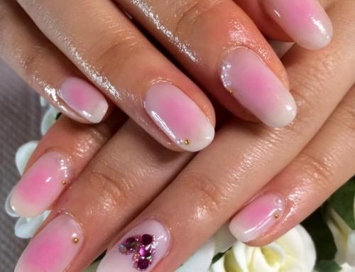 Gel Nail design : Sakura Pink