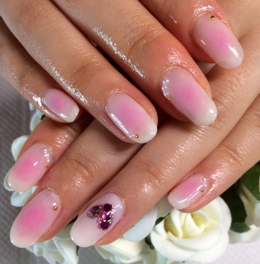 Gel Nail Design Sakura Pink Eye Studio Tokyo